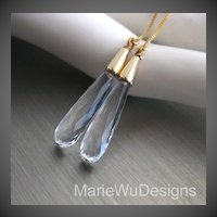 Slender Crystal Quartz-14k Gold Fill Threader Earrings