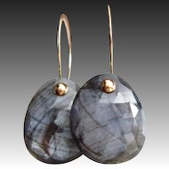 Natural Untreated Platinum Sapphire-September Birthstone-14k Solid Yellow Gold-Rose Cut Precious Gem Earrings