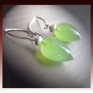Green Chalcedony Briolette-Sterling Silver Stardust-contemporary Earrings