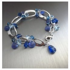 Multi Blue Gems-Aquamarine-London Blue Topaz-Tanzanite-Kyanite Sterling Silver Bracelet with Charms
