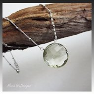 Simply Elegant-16mm Natural Green Amethyst-Sterling Silver Beaded Pendant Necklace