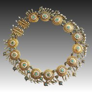 Antique Victorian 15k Gold-Turquoise-Seed Pearl-Collar Choker Necklace