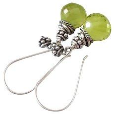 Gem Green Gold Quartz-Balinese Handmade Silver Dangle Earrings