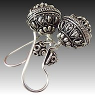 The Best-Bali Handmade Silver Ornate 16mm Dangle Bead Earrings