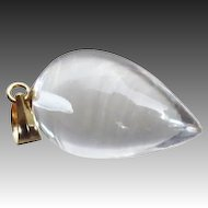 14k Solid Gold-Pool of Light-Crystal Quartz Teardrop Pendant
