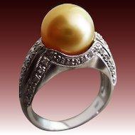 Vintage 11mm Golden South Seas Sea Pearl-Diamond-14k White Gold Cocktail Ring