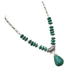 172ct Genuine Natural Emerald-May Birthstone-Bali Handmade Silver Pendant Necklace