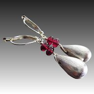 Exceptional Rhodolite Garnet-Sterling Silver Teardrop Stacked Leverback Earrings