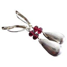 Exceptional Rhodolite Garnet-Sterling Silver Teardrop Stacked Leverback Earrings