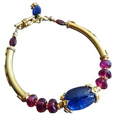 Exceptional Blue Kyanite-Rubellite Garnet-18k Gold Vermeil Toggle Bracelet with Charm