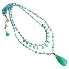 Exceptional Apatite-Gem Chrysoprase-2 Strand 18k Gold Vermeil Layering Adjustable Necklace with Charms