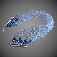 4 Strand Rainbow Moonstone-Ethiopian Welo Opal-Kyanite Sterling Silver Bracelet