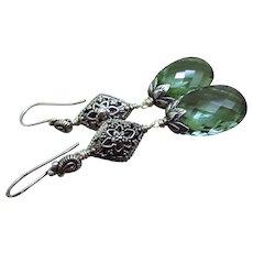 Cushion Green Amethyst-Balinese Sterling Silver Long Dangle Earrings