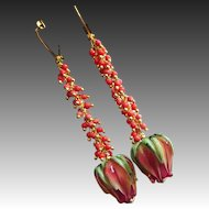 Salmon Pink Coral-Artisan Lampwork Blossoms-Gold Vermeil Leverback Cascade Earrings
