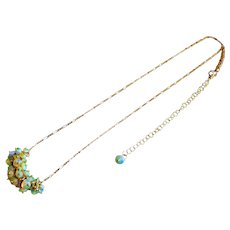 Finest Ethiopian Welo Opal Cluster-October Birthstone-14k Gold Fill Adjustable Necklace
