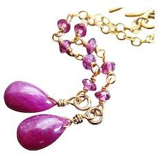 5ct Natural Untreated Ruby-Rhodolite Garnet-July Birthstone-Long Dangle-18k Gold Vermeil Gold Fill Earrings