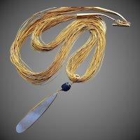"30"" Huge Natural Druzy-Gem Kyanite-30 Strand Liquid Gold Vermeil Silver-One Of A Kind-Drusy Pendant Necklace"