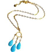 Natural Sleeping Beauty Turquoise-18k Gold Vermeil Chandelier Charm Adjustable Necklace