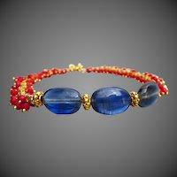 Exceptional Blue Kyanite-Red Coral Fringe-Gold Vermeil Toggle Bracelet