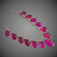 30ct  Natural Pink Tourmaline Briolette Charms-14k Solid Yellow Gold Adjustable Necklace