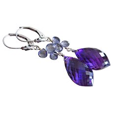 14k Iolite-Water Sapphire-Amethyst-Solid White Gold Dangle Earrings