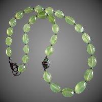 OOAK 360ct Gem Prehnite-Green Tourmaline-Pave Diamond Clasp-Black Rhodium Oxidized Silver-22 Inch Necklace