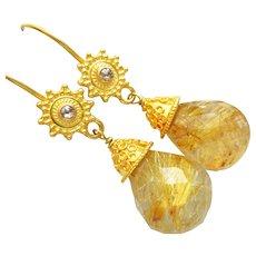 Spun Gold-Rare 35ct Golden Rutilated Rutile Quartz-Champagne Diamond-18k Solid Gold Dangle Earrings