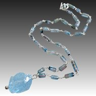 Raw-Indicolite Bi Color Tourmaline Crystals-Blue Topaz Nugget Pendant-Sterling Silver Unisex Necklace