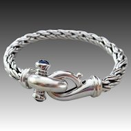 Vintage 14k White Gold-Natural Blue Sapphire- Italy Wheat Rope Bracelet-September Birthstone Bracelet