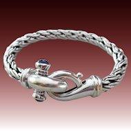 Vintage 14k White Gold-Natural Blue Sapphire- Italy Wheat Rope Bracelet-September Birthstone Bracelet