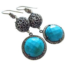 Turquoise-Pave Diamond-Bali Handmade Sterling Silver Dangle Earrings