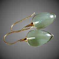 14k Natural Green Amethyst-Prasiolite-14k Solid Gold Dangle Earrings