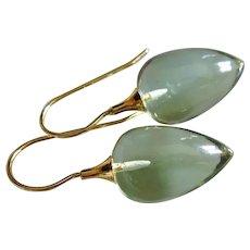 14k Natural Green Amethyst-Prasiolite-14k Solid Gold Dangle Earrings