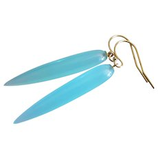 Slender Aqua Chalcedony-14k Solid Gold Minimalist Contemporary Dangle Earrings