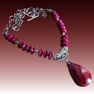 180ct Genuine Ruby-July Birthstone-Bali Handmade Oxidized Silver Pendant Necklace