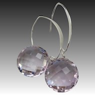 16mm Pink Amethyst-Contemporary-Minimalist-Sterling Silver or Gold Fill Hoop Earrings