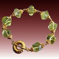 Golden Lemon Quartz Spiral Gems-24k Gold Vermeil Toggle Bracelet