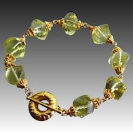 Golden Lemon Quartz Spiral Gems-24k Gold Vermeil Toggle Bracelet