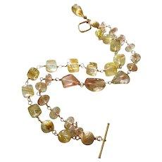 Exceptional Oregon Sunstone-Venus Hair Golden Rutilated Quartz-2 Strand Solid 14k Yellow Gold Toggle Bracelet with Briolette Charm