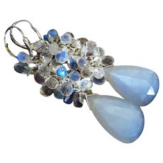 Moonlight AAA Rainbow Moonstone-White Chatoyant Moonstone-Cascade Long Dangle Sterling Silver Earrings