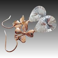 Rose Gold-Concave Crystal Quartz-Natural Quartz-Petals Rose Gold Fill Gold Plate-Nature Inspired Dangle Earrings