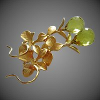 Petals-Lemon Quartz Briolette-Floral-Nature Inspired-Gold Plated Leverback Earrings