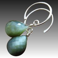 Natural Cat's Eye-Sterling Silver Hoop Dangle Earrings