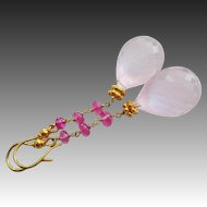Best Madagascar Rose Pink Quartz-Natural Pink Sapphire-18k Solid Gold-Long Dangle Elegant Earrings