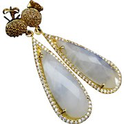 Moonstone-Pave CZ 18k Gold Vermeil Dangle Post Earrings