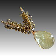 31ct Natural Lemon Quartz Pendant-Smoky Quartz Fringe Charm-Gold Fill Briolette Necklace