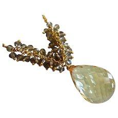 31ct Natural Lemon Quartz Pendant-Smoky Quartz Fringe Charm-Gold Fill Briolette Necklace