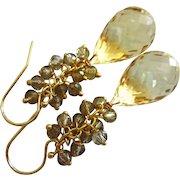 Lemon Quartz-Smoky Smokey Quartz Fringe Charm-Cascade Waterfall Briolette Dangle 14k Gold Fill Earrings