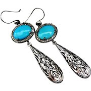 Kingman Arizona Turquoise-Pave Diamond-Bali Handmade Filigree Sterling Silver Dangle Earrings