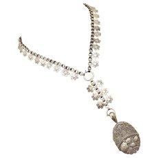 Antique Victorian Sterling Silver Book Chain Collar Bookchain-Full English Hallmarks 1884 Locket Pendant Necklace